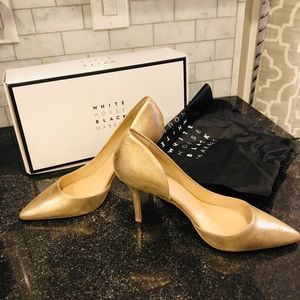 Gold metallic whites house black market heels